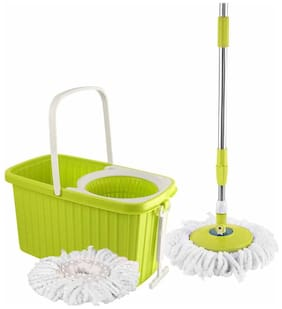 Cello Kleeno Hi Clean Spin Mop with WHEELS with 2 refill and 1 liquid dispenser (Green)
