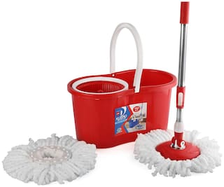 Cello Kleeno Compacto Spin Mop with 2 refill (Red)