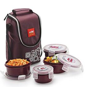 Cello Max Fresh Click 4 Container Lunch Box Brown