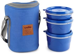 Cello 3 Containers Plastic & Stainless steel Lunch Box - Blue