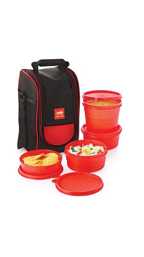 Cello Max Fresh Super Lunch 4 Container Lunch Box Red