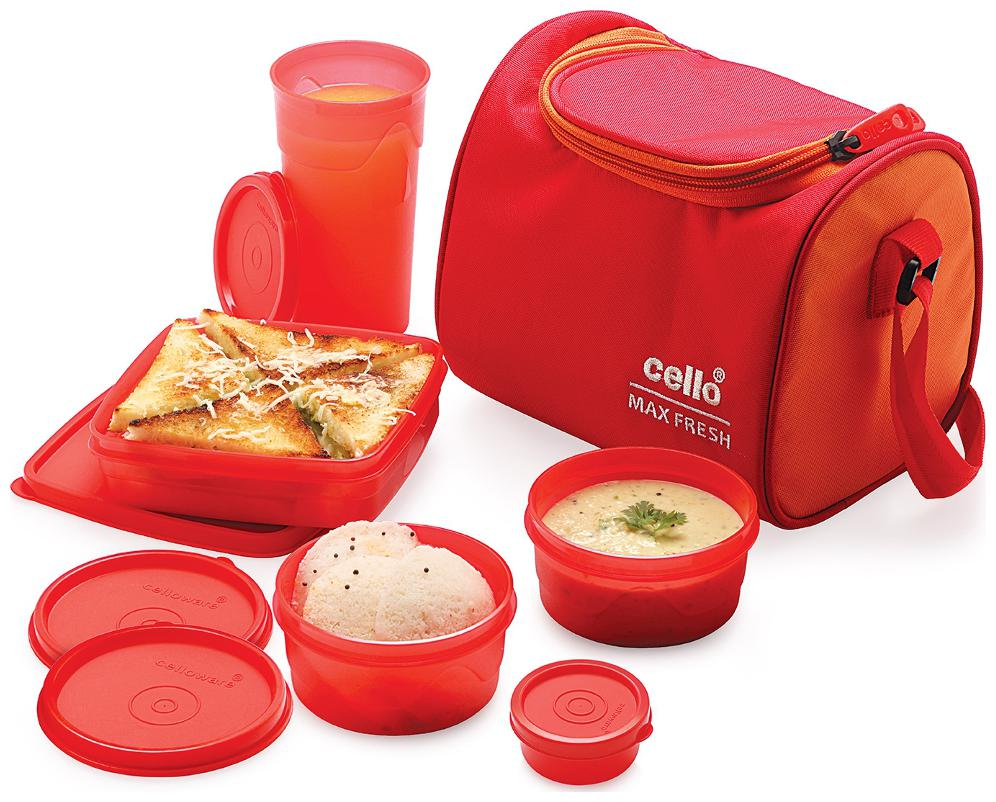 Cello Max Fresh Sling 5 Container Lunch Box Red Orange by AZ Sellers