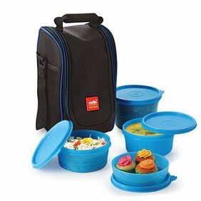Cello Max Fresh Super Polypropylene Lunch Box Set  4-Pieces  Blue