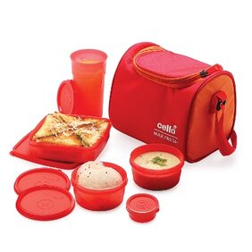 Cello Max Fresh Sling 5 Container Lunch Box Red Orange