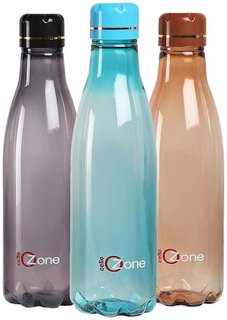 Cello Plastic Water Bottle Set of 3 ( Assorted , 1000 ml )