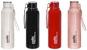 Cello Puro Steel-X Benz Insulated Bottle with Stainless Steel Inner;900 ml;Set of 4;Assorted