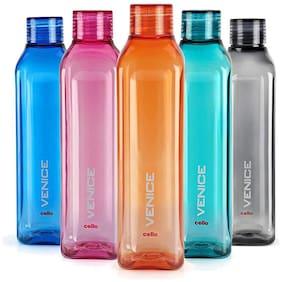Cello Plastic Water Bottle Set of 5 ( Multi , 1000 ml )