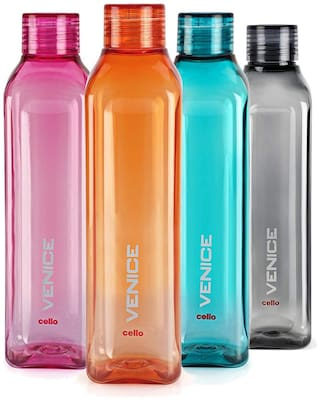 Cello Plastic Water Bottle Set of 4 ( Assorted , 1000 ml )