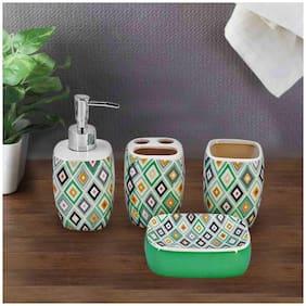 Kookee Ceramic BA Set of 4 - Soap Dispenser, Soap Dish, Tumbler & TB Holder, Kite Design Pista (19808-7)
