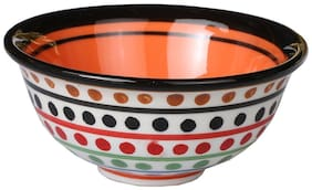 Ceramic/Stoneware Katori Bowl in Orange Glossy Bowl (Set of 1) Handmade by Caffeine