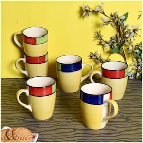 Ceramic Yellow Coffee Mug 6 Pcs 300 ml