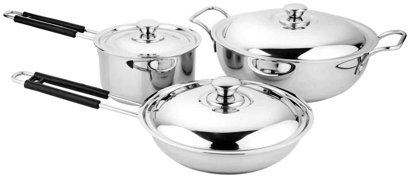 Chakmak Stainless Steel Brio Cookware Set Of 6 pcs