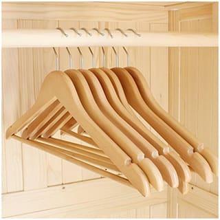 INNOVA Wood Beige Hangers ( Set of 6 )