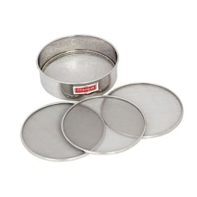 Champak Stainless Steel Sieve 10 inch Chalni with 4 Nets, 5 Piece Set, Silver