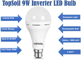 TOPSOIL Chargeable LED Bulb 9 Watt Cool daylight Pack of 1