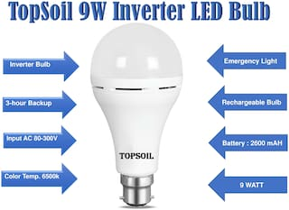 TOPSOIL Chargeable LED Bulb 9 W Cool daylight Pack of 1