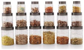 Checkers Canister Set, Storage Containers, Storage Box for Kitchen, Masala Box, Storage containers for Kitchen - 300 ml, 650 ml, 1200 ml Plastic Grocery Container  (Pack of 18;Transparent)