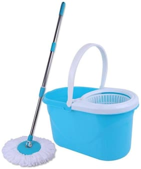CheckSums (11028) Magic Dry Bucket Mop - 360 Degree Self Spin Wringing With 2 Super Absorbers for Home & Office Floor Cleaning- Blue
