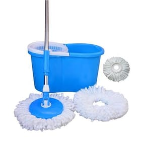 CheckSums (11031) Magic Dry Bucket Mop - 360 Degree Self Spin Wringing With 3 Super Absorbers for Home & Office Floor Cleaning- Assorted Color