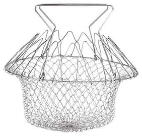 Chef Basket, Yummy Sam Stainless Steel Foldable Steam Rinse Strain Fry Basket Strainer Net Kitchen Cooking Tool for Fried Food or Fruits (1Pc) Silver