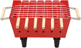 Chefman Charcoal Barbeque Portable Barbeque with 4 Skewers Outdoor Barbeque Set (RED)