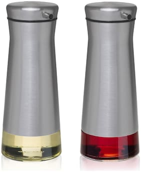 CHEFVANTAGE Olive Oil and Vinegar Cruet Dispenser Set with Elegant Glass Bottle