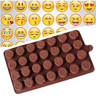 Chitranshi Silicone Chocolate Mould,Jelly Candy Mould,Cake Baking Molds,15 cavity bakeware Emoji shape mould.(Set of 1)