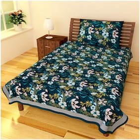 Chokor 141 T C Cotton Printed Single Bed sheet With One Pillow Cover
