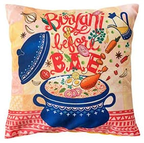 Chumbak, Biryani Before Bae 12inches Cushion Cover- Pink