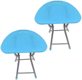 CIPLA PLAST Living Room Garden Office Folding Step Stool for Kids & Adults Set of Two- Blue