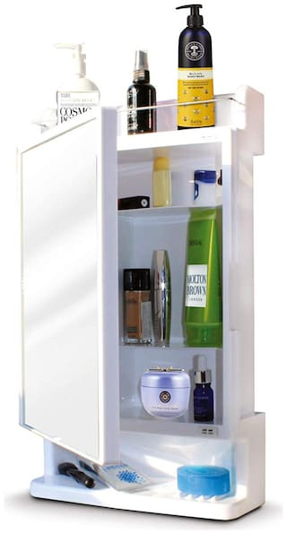 Ciplaplast Strong and Heavy Rich Look Bathroom Cabinet with Mirror - White