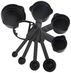 CITRESA 8Pcs Plastic Measuring Cup and Spoon Set;Black