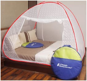 Classic Double Bed Foldable Jacquard Mosquito Nets - Red
