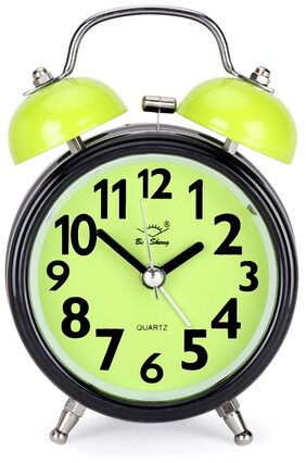Classic Twin Bell Green Colour Table Alarm Clock With Night Led Light - EDALRM004