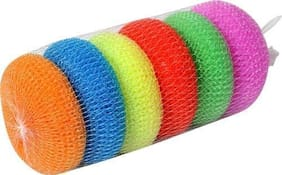 CLEANCHEK Multipurpose Use Round Plastic Scrubber,Body Bathing Round Multi Color (Pack of 6)