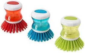 Cleaning Brush With Liquid Soap Dispenser (Set of 3)