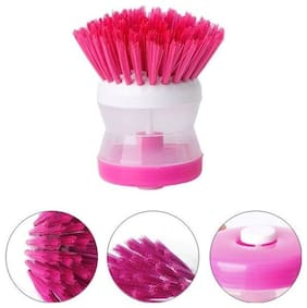 Cleaning Brush Soap Liquid Dispenser (Multi color) Plastic Wet and Dry Brush (1Pc) Assorted Color