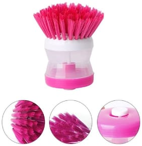 Cleaning Brush For Sink, Dish Washing, Kitchen Cleaning Plastic Brush with Washing Up Liquid Soap Dispenser Plastic Wet and Dry Brush (Asorted Color)