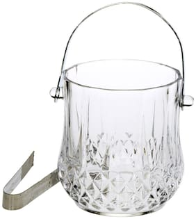 Clear Glass New Design Ice Bucket With Handle & Tongs -a01