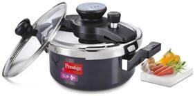 Prestige Clip On Aluminium Pressure Cooker with Glass Lid, 3 Ls, 2-pcs, Charcoal Black