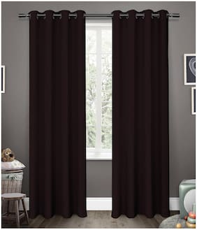 Cliths 2 Panels Roby Wine Grommet Energy Saving Blackout Curtains for Window (137 cm (54 inch) x 152 cm (60 inch))
