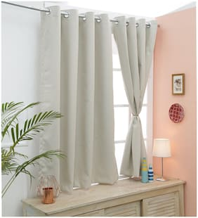 Cliths Beige 2 Panels Light Blocking 100% Polyester Blackout Curtains for Window (137 cm (54 inch) x 152 cm (60 inch))