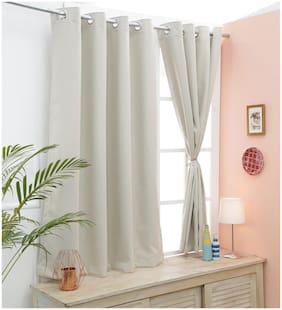 Cliths Beige Light Blocking Imported Polyester Blackout Curtains- 2 Panels For Window (137 cm (54 inch) x 152 cm (60 inch))