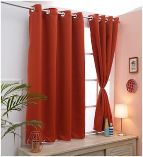 Cliths Both Sided Set of 2 Oange Red Color Room Darkening Blackout Curtains for Window (137 cm (54 inch) x 152 cm (60 inch))