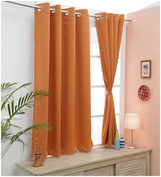 Cliths Both Sided 2 Panel Jaffa Orange Color Room Darkening Blackout Curtains for Door (137 cm (54 Inch) x 213 cm (84 Inch))