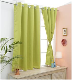 Cliths Parrot Green Room Darkening 99% Blackout Curtain Set of 2 For window (137 cm (54 inch) x 152 cm (60 inch))