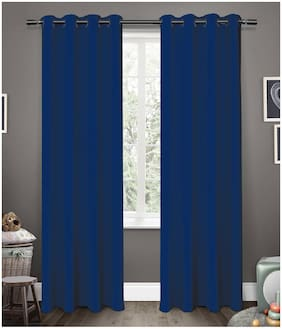 Cliths Polyester Set of 2 Blue Room Darkening Blackout Curtains for Window (137 cm (54 inch) x 152 cm (60 inch))
