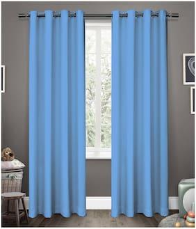 Cliths Sky Blue 2 Panels Grommet Light Blocking Blackout Curtains for Window (137 cm (54 inch) x 152 cm (60 inch))