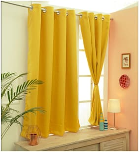 Cliths Yellow 2 Panels Grommet Light Blocking Blackout Curtains For Window(137 cm (54 inch) x 152 cm (60 inch))