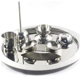 Clobber Stainless Steel Pooja Thali Set Of 6